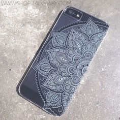 "H20 Clear Plastic Case Cover iPhone 6Plus (5.5"") Black Henna Lotus Mandala tribal rose tribal ethnic american indian by STUCHI on Etsy https://www.etsy.com/listing/206349196/h20-clear-plastic-case-cover-iphone"