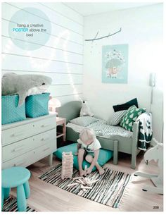inspiration-8-amazing-kids-rooms Can use turquoise bins/ green gray paint