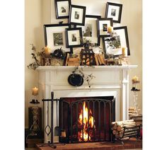 Spooky Mantel Design Ideas With Halloween Theme To Make Your Living Room Look Scary : Cool Halloween Mantel Decorating Ideas With Artistic Stacked Paintings And Candles