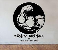 Fitness Gym Wall Decal TRAIN INSANE Sticker Art by StateOfTheWall