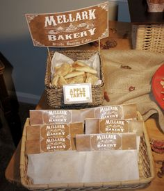 The Hunger Games -- dessert table at a party.  The Mellark Bakery!  Peeta's family!