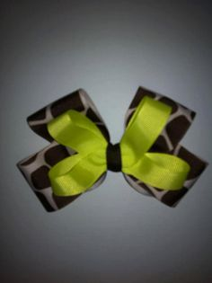 Lime Green and Giraffe Bow by CJGDesigns0912 on Etsy