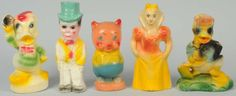 Lot of 5: Character Chalk Carnival Figures.Smaller-size. Includes Porky Pig, Charlie McCarthy, Donald Duck, Snow White, and another Donald Duck that appears to be a bookend.