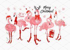 Pink flamingo Christmas and happy New Year greeting card. Santa and deer flamingo with Santa hat, scarf, holidays greetings sign. Vector watercolor decoration on white backdrop. Christmas Style, Merry Christmas, Tropical Christmas, Coastal Christmas, Christmas In July, Pink Christmas, Christmas Crafts, Christmas Flamingo, Xmas
