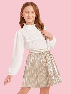 To find out about the Girls Frilled Neck Lace Yoke Top & Metallic Pleated Skirt Set at SHEIN, part of our latest Girls Two-piece Outfits ready to shop online today! Kids Summer Dresses, Dresses Kids Girl, Kids Outfits Girls, Cute Girl Outfits, Girls Fashion Clothes, Tween Fashion, Cute Dresses, Girl Fashion, Fashion Outfits
