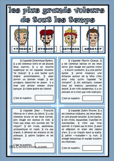 Les plus grands voleurs de tous les temps Have students make their own mug shots w/descriptions French Flashcards, French Worksheets, French Teaching Resources, Teaching French, French Adjectives, Material Didático, French Education, Elementary Education, Core French