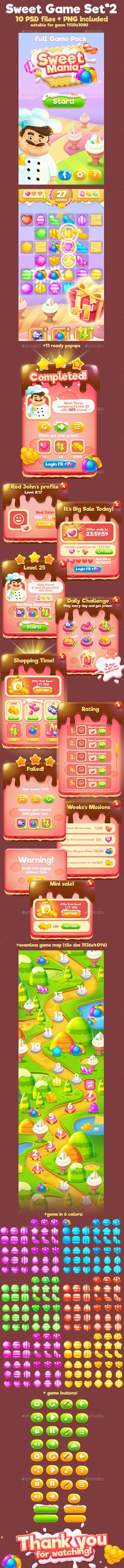 Sweet Match-3 Full Game Pack - Game Kits Game Assets