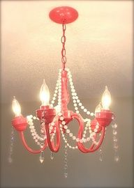 DIY girly chandelier.. Love the pearls!