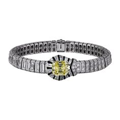 Pulseira Alta Joalheria Platina, pérolas finas, ônix, turmalinas amarelas, diamantes
