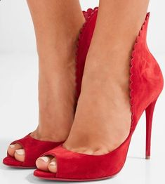 Christian Louboutin 'Pijonina' Scalloped Suede Pumps