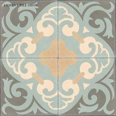 """Original Mission Tile via Cement Tile Shop. Classic Collection """"La Espanola"""" F88169. 8x8. $6.80 / tile. Coordinating solid color tile $4.60 / tile."""