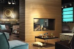 contemporary double-sided fireplace (gas closed hearth) COSMO TUNNEL SLIM LINE II DRU
