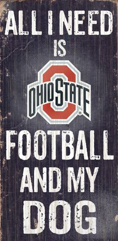 Ohio State Buckeyes Wood Sign - Football and Dog 6x12 Visit our site at Findrly.com