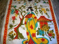 Vintage Asian Themed Tea Towel / Vibrant Colors / by upCdooZ