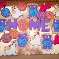 Home Movie Cookies Boov Dreamworks Party by ClassyConfectionsLLC 3rd Birthday Parties, Baby Birthday, Birthday Ideas, Dreamworks, Party Time, Movie Party, Party Planning, First Birthdays, Party Ideas