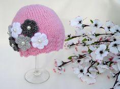 Babyl Hat Knitted Baby Girl Hat Knitting Crochet by Solnishko42, $25.00