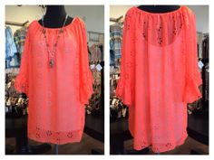 Neon's are great colors to brighten up your wardrobe and your day! This proven fit top is available in three colors: orange, green and pink. So fun. S-XL, $44.00