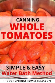 Canning tomatoes the simple and easy way by water bath canning. Whole canned tomatoes are most popular because they can be used in a variety of recipes such as soups & stews, casseroles and of course all kinds of comfort foods. Stewed Tomato Recipes, Canning Stewed Tomatoes, Canning Soup, Easy Canning, Canning Salsa, Canning Vegetables, Canning Tips, Canning Recipes, Tomato Canning