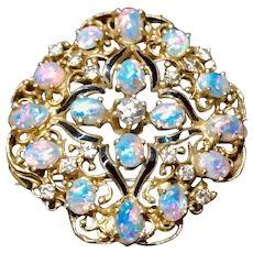 Aituzzi Jewelry Stunning 14k Gold Opal and Diamond Pendant or Brooch WATCH VIDEO Lightning Ridge, Watch Video, Diamond Pendant, Opal, Brooch, Gold, Jewelry, Jewlery, Jewerly