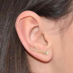 3MM WHITE CZ EAR CLIMBER EARRING #cz #white_cz #earrings_jewellery #iroocca