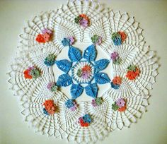 Flowerful crochet doily, round doily 12'', lace doily rejoiced with colorful small flowers