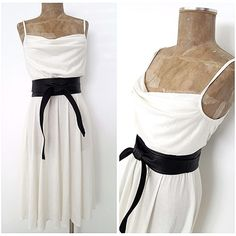 Vintage 80s Cowl Neck Dress Size Small Off White Shiny Disco Summer Wedding #Unknown #Shift #Formal