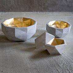 Medium Millelati Concrete Bowl, Concrete & Gold