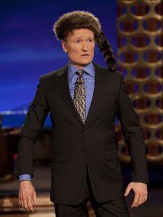 Conan Tries On An Audience Member's Coonskin Cap