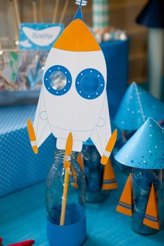 Rockets and Robots space party masks by Sunshine Shabby