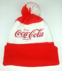 3138cbfe22e Coca-Cola Knit Beanie Hat Red White Retro Pom Pom Retro Beverage Soda  Winter