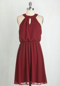 City Sway Dress in Wine - Valentine's, Woven, Red, Solid, Cutout, Girls Night Out, A-line, Sleeveless, Variation, Mid-length