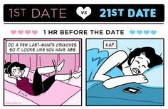 1st #Date vs 21st Date. I think changing your tampon in front of him is more like a 51st date, but still pretty #funny. #dating #relationship #relationshiphumor #datinghumor #sex #HerSolution