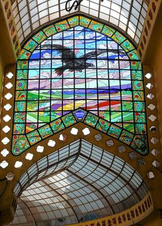"secesia: "" Palace ""Vulturul Negru"" (Black Eagle) by Komor Marchel & Jacob Dezso, Oradea - Passage interior. Stained Glass Birds, Stained Glass Designs, Stained Glass Windows, Leaded Glass, Beveled Glass, Mosaic Glass, Art Nouveau, Through The Looking Glass, Macedonia"