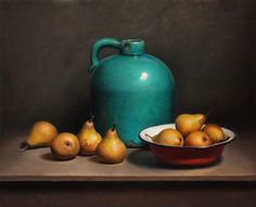 """""""Still life with pears and green bottle""""  by Jos van Riswick (artist)"""
