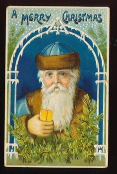 Merry-Christmas-Santa-Claus-in-Blue-Robe-Hat-Embossed-Postcard-Germany-1913 #Christmas