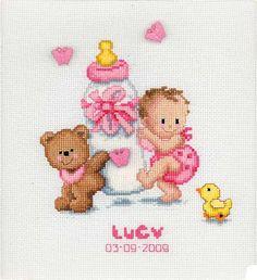 Baby Bottle Birth Sampler Cross Stitch Kit By Vervaco - Pink: Cross Stitch For Kids, Cross Stitch Baby, Counted Cross Stitch Kits, Cross Stitch Charts, Cross Stitch Designs, Cross Stitch Patterns, Baby Embroidery, Cross Stitch Embroidery, Embroidery Patterns
