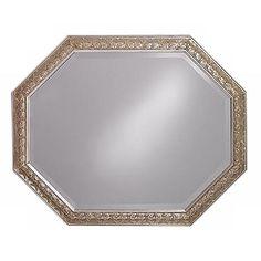 "Crete Antique Silver Octagonal 42"" Wide Wall Mirror"