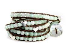 """Azure Heart"" Amazonite Gemstone Wrap Bracelet with Silver Hearts - Extra Long 5x Genuine Leather Bracelet: Jewelry: Amazon.com"