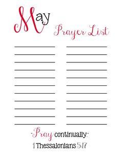 Prayer List Printable