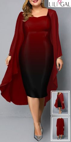 Red Chiffon Cardigan and Sleeveless Plus Size Dress Vestidos Plus Size, Plus Size Maxi Dresses, Dresses Uk, Dresses For Sale, Dresses Online, Plus Size Outfits, Fashion Dresses, Fashion Clothes, Royal Blue Dresses