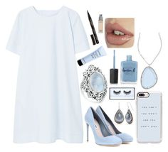 """""""Beauty Light Blue"""" by dark-jewel ❤ liked on Polyvore featuring MANGO, Miu Miu, Casetify, Bling Jewelry, Silver Forest, Elliott Chandler, Givenchy, Huda Beauty, Lauren B. Beauty and Smith & Cult"""