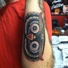 Traditional Owl Head Tattoo | Tattooer Amanda Hoffman | Pinterest