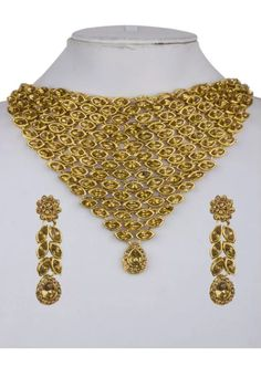 Shop Golden Alloy Austrian Diamond Necklace Set Earrings 199008 online from huge collection of indian ethnic jewellery at Indianclothstore.com. Ethnic Jewelry, Indian Jewelry, Jewellery, Diamond Necklace Set, Chocker, Anklets, Fashion Necklace, Pendants, Indian Ethnic