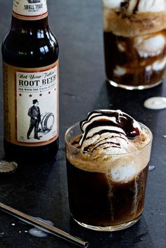 Vanilla bean ice cream and root beer ale combine with a dollop of whipped cream and a drizzle of chocolate syrup to create the ultimate adult summer adult beverage. | My Baking Addiction