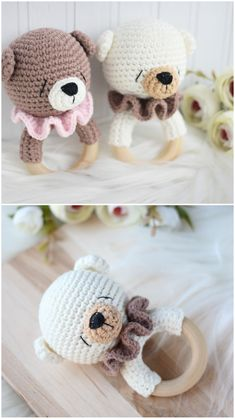 Bear crochet baby rattle / Bear teething toy / Rattle for newborn / Forest themed baby shower / Neutral gender baby gift / Pregnant friend Crochet Bebe, Crochet Toys, Dou Dou, Kids Headbands, Fabric Animals, Pregnancy Gifts, Teething Toys, Baby Rattle, Bear Toy
