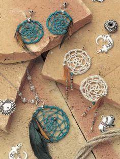 free Dream Catcher earrings crochet pattern