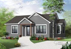 Discover the plan 3114 - Emmit from the Drummond House Plans house collection. Affordable 2 bedroom beautirul bungalow with large kitchen, open floor plan & full basement. Brick House Plans, Basement House Plans, Small House Plans, House Floor Plans, Drummond House Plans, Diy Home, Home Decor, Ranch Style Homes, Prefab Homes