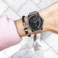 Rosegold Elements With A Heart Of Black Marble Our Perfect Match Signature Line Black Marble And The Matching Rose Gold Watches Perfect Match Leather Watch