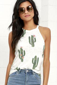 Brokedown Cactus Cream Print Tank Top at Lulus.com!