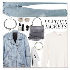 """""""Cool-Girl Style: Leather Jackets"""" by tamara-40 ❤ liked on Polyvore featuring RE/DONE, Monki, Alexander Wang, Nancy Gonzalez, DANNIJO, Miu Miu, NIKE, NOVICA, Bobbi Brown Cosmetics and Leather"""